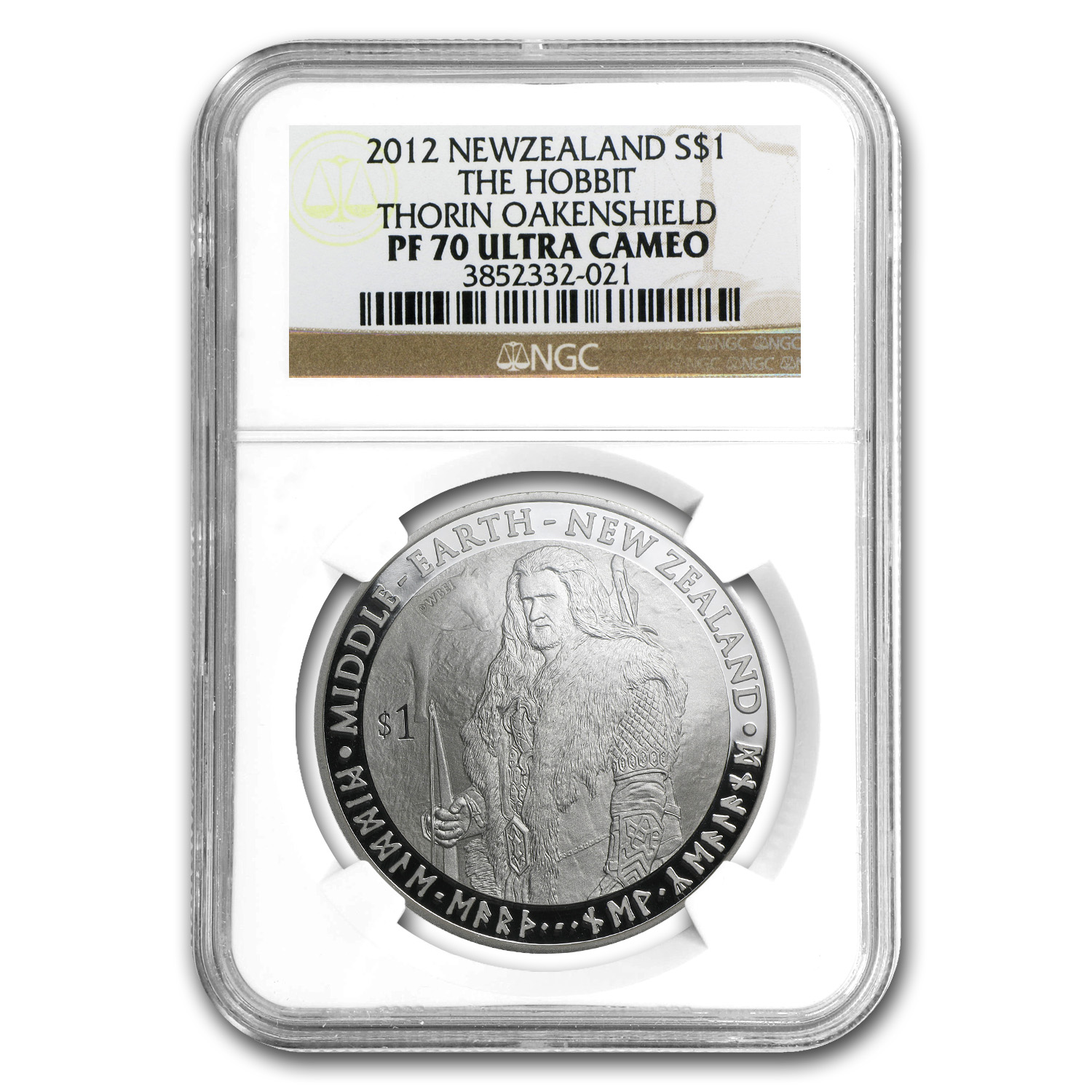 2012 New Zealand 1 oz Silver $1 Thorin Oakenshield PF-70 NGC